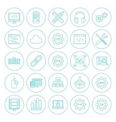 Line circle programming icons vector