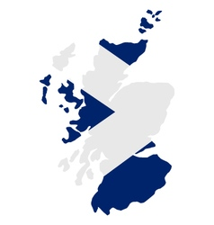 Map of scotland with flag vector image vector image