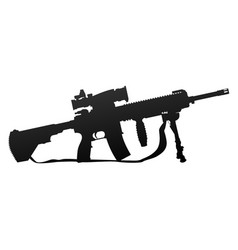 Military style automatic rifle silhouette vector