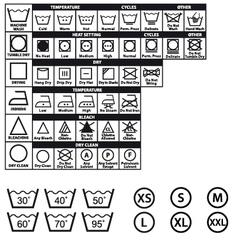 textile care symbols set vector image