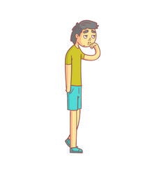 Young man with with a flu and running nose mucus vector