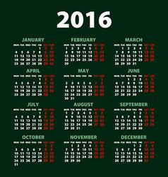 2016 calendar simple design art date color vector image
