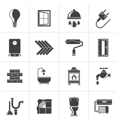 Black Construction and home renovation icons vector image