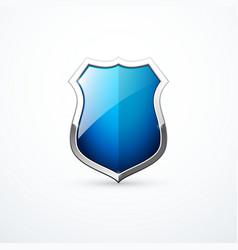 blue metal shield icon vector image
