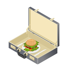 Business lunch case with hamburger and money vector image vector image