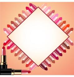 Cosmetics Lipstick border frame vector image vector image