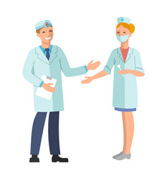 doctor and nurse of a smiling vector image