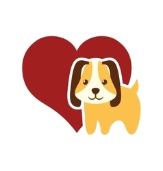 dog animal pet ear long red heart vector image vector image