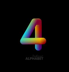 3d iridescent gradient number 4 vector