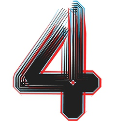 abstract font number 4 vector image vector image