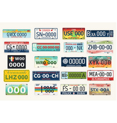 automobile or car vehicle registration plates vector image vector image