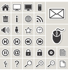 Cmputer and Internet web icons set vector image