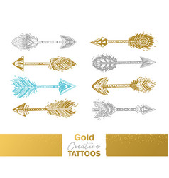 Metallic temporary tattoos gold silver and blue vector