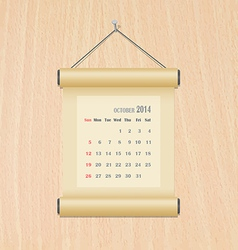 October2014 calendar on wood wall vector image