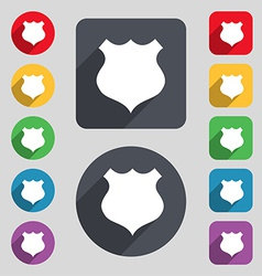 shield icon sign A set of 12 colored buttons and a vector image