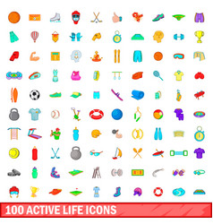 100 active life icons set cartoon style vector image vector image