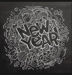 2019 doodles new year objects poster vector image