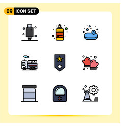 9 creative icons modern signs and symbols one vector