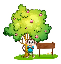 A cute monkey under the tree beside the empty vector image