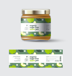Apple jam label and packaging jar with cap vector