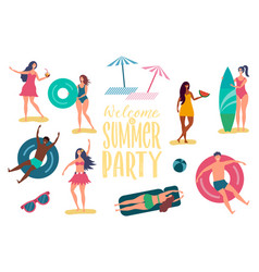 beach summer party characters vector image