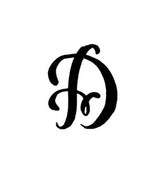 Beautiful hand written capital letter d with curls vector
