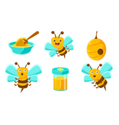beekeeping set cute funny bee beehive jar of vector image