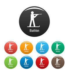 Biathlon icons set color vector