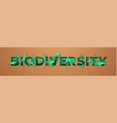 biodiversity green paper cut animal nature concept vector image