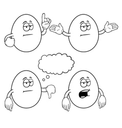 Black and white bored egg set vector image
