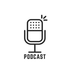 Black microphone logo for podcast vector