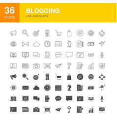 blogging line web glyph icons vector image