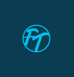 blue ft initial letter in circle logo vector image
