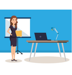 Businesswoman with paperboard training avatar vector