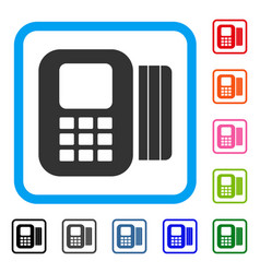 card processor framed icon vector image