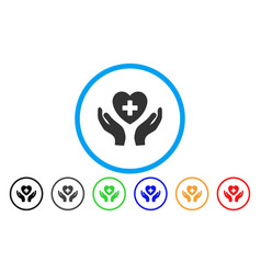 cardiology care hands rounded icon vector image