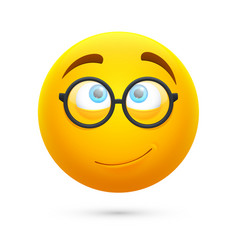 Cartoon yellow 3d smiley face cute geek vector