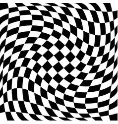 Checkered pattern with torsion warp effect vector