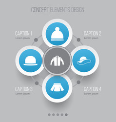 Clothes icons set collection of beanie stylish vector