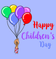 Colorful balloon style children day collection vector