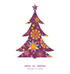 Colorful stars Christmas tree silhouette pattern vector