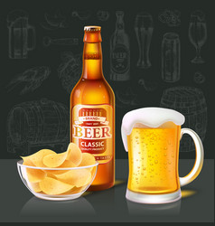 Craft beer in bottle and mug near chips glass bowl vector