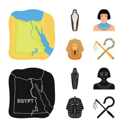 Crook and flaila golden mask an egyptian a vector