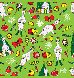 cute new year seamless pattern with lamas vector image