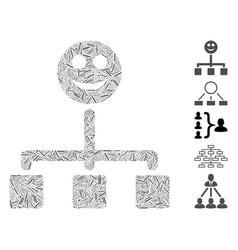 Dash mosaic happy hierarchy icon vector