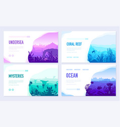 Dedicated to undersea brochure cards set vector