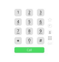 dial keypad touchscreen phone number keyboard vector image