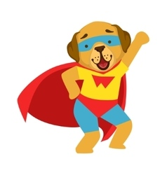 Dog Animal Dressed As Superhero With A Cape Comic vector
