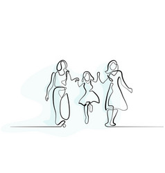 family with mother grandmother and girl walking vector image
