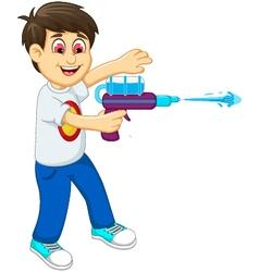 funny boy cartoon playing water gun vector image